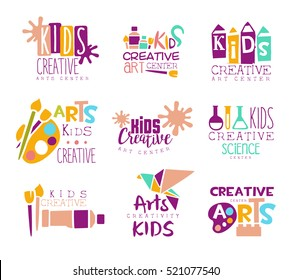 Kids Creative Class Template Promotional Logo Set With Symbols Of Art and Creativity, Painting And Origami