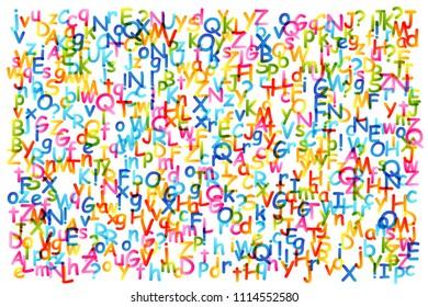 Kids creative education concept. Background with rainbow alphabet confetti.
