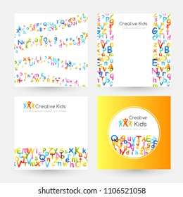 Kids creative education concept. Rainbow alphabet confetti.  Design collection of cards with  round label, curves and banners with border elements.