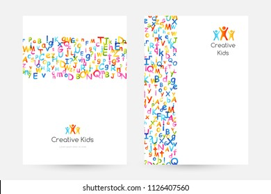 Kids creative education concept. Rainbow alphabet confetti.  Design collection of vertical posters with border elements.