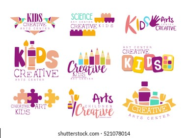 Kids Creative And Science Class Template Promotional Logo Set With Symbols Of Art and Creativity, Painting And Origami