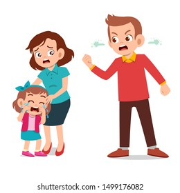 kids cry with parent fighting ague