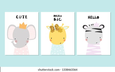 Kids cute cards with little animals princess. Vector hand drawn illustration.