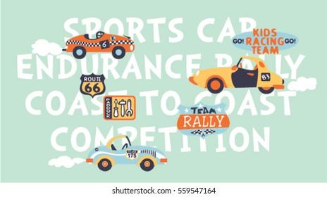 Kids cute racing team, vector print for children wear in custom colors