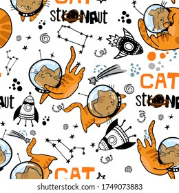 Kids cute seamless pattern with cat in space. Space background. print for T-shirts, textiles, wrapping paper, web.