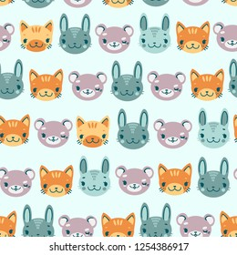 kids cute seamless pattern with heads of smiling animals bear hare kitten
