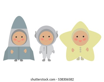 Kids in cute space costumes. Isolated vector illustration on white background. Spaceship, astronaut, star