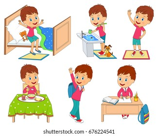 kids daily routine, illustration,vector