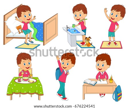 Kids Daily Routine Illustrationvector Stock Vector ...
