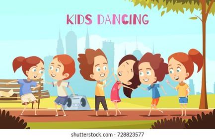 Kids dancing cartoon vector illustration