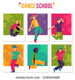 Kids dancing hip-hop banners set isolated on white background. Diversity children in bright clothes and hats doing modern movements of break dance in flat cartoon vector illustration.