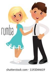Kids dancing Rumba. Vector illustration Ballroom dance school.