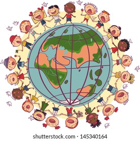 Kids is dancing and singing in circle around earth