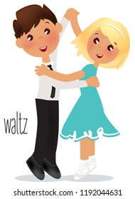 Kids dancing Waltz. Vector illustration Ballroom dance school.