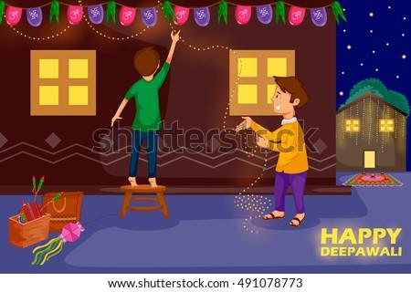 Kids Decorating House For Celebrating Diwali Festival Of India In Vector