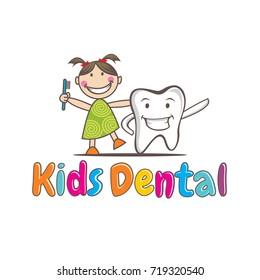 Kids Dental logo Vector, Kids Dental Mascot, Character