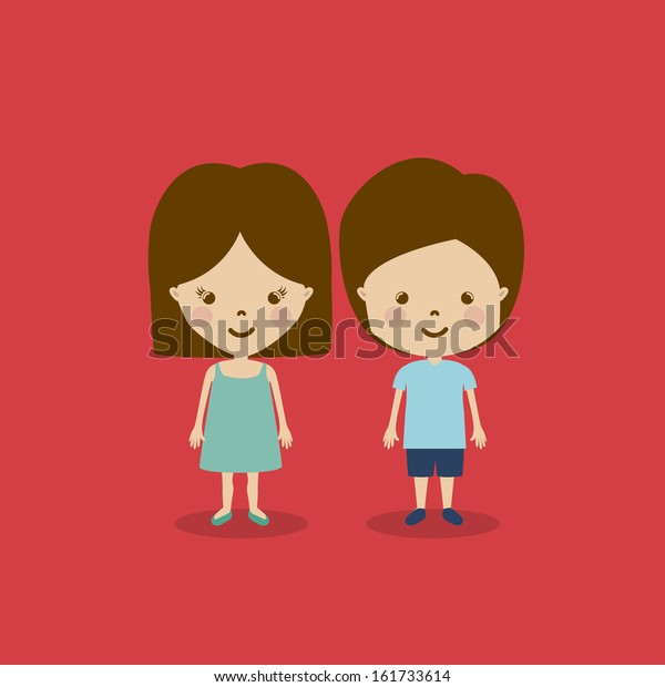 Kids Design Over Red Background Vector Stock Vector Royalty Free 161733614