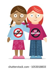 Kids of different ethnicities united against bullying at school
