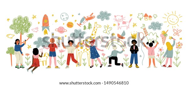 Kids of Different Nationalities Painting and Drawing with Brushes and Pencils on White Wall Vector Illustration