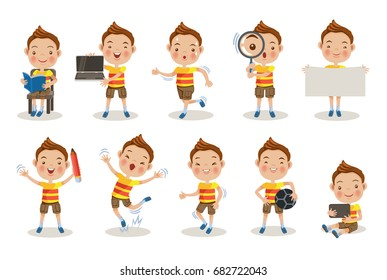 Kids different pose, about learning. at school or at home, soccer kid, read a book, Hold a notebook computer,Hold signs, pencil, jump, walk, tablet living, Running, magnifying glass, Character set