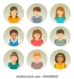 Kids of different races round flat vector avatars. Happy smiling Caucasian, African American and Asian boys and girls faces. Children characters profile pictures. Portrait infographic cartoon elements