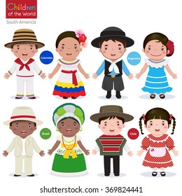 Kids in different traditional costumes (Colombia, Argentina, Brazil, Chile)
