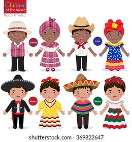Kids in different traditional costumes (Jamaica, Cuba, Mexico)