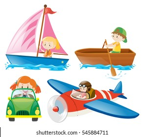 Kids in different types of transportations illustration