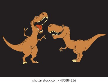 Kids dinosaurs are smiling .Color vector illustration