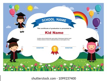 Kids Diploma certificate background design template.Education concept