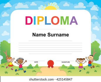 Kids Diploma certificate background design template vector illustration