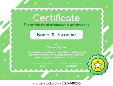 Kids Diploma certificate in cute style green background template layout design. Lovely graphic coupon for kids graduation.