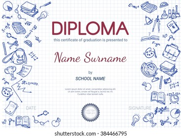 kids diploma certificate design template with doodle elements preschool elementary school diploma vector template