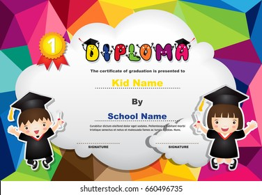 Kids Diploma certificate in polygonal style with lovely children design template