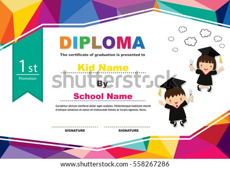 kids diploma certificate polygonal style lovely のベクター画像素材