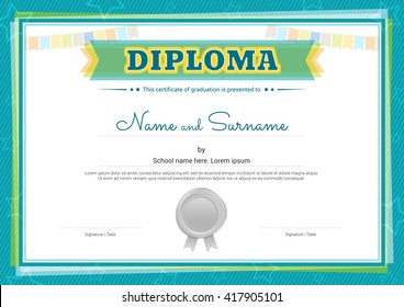 Kids diploma certificate template in vector for graduation with silver wax seal, green border