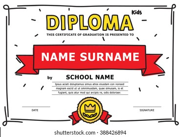 kids diploma, hand-drawn. design template