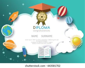 Kids diploma preschool certificate elementary school design template background. vector illustration