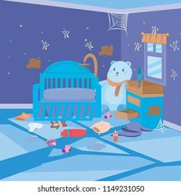 Kids Dirty Bedroom Night Cartoon Background for Children Vector Ilustration