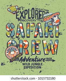 Kids discovery team safari adventure, grunge vector print for children with embroidery patches