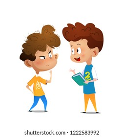 Kids discussing literature. Cartoon vector illustration for banner, poster.