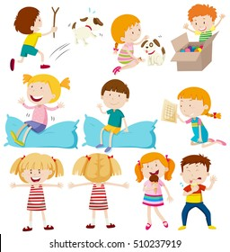 Kids doing different actions illustration