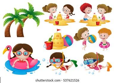 Kids doing different activities on the beach illustration