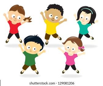 Kids doing Jumping Jacks