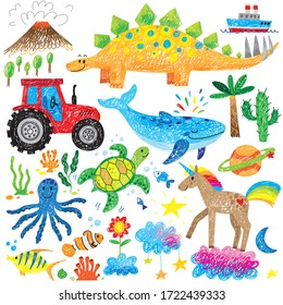 kids doodle hand drawn unicorn whale tractor dinosaur turtle fish clouds icon set