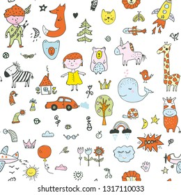 Kids doodle seamless pattern for the kindergarten, cute design. Vector graphic illustration