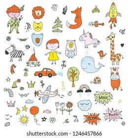 Kids doodle set - funny drawing of children, animals, transport, nature. Vector graphic illustration