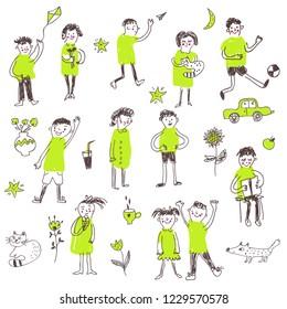 Kids doodle sketchy set, funny design. Vector graphic illustration
