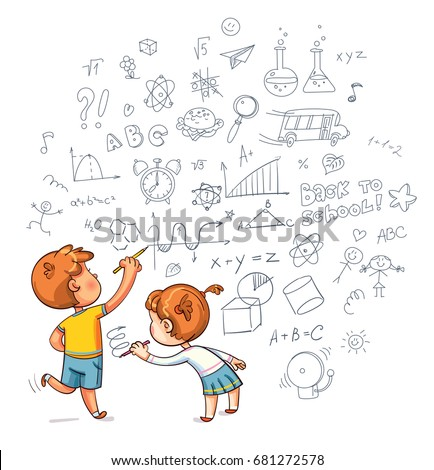 Kids Drawing Boy Girl Draw Doodle Stock Vector Royalty Free