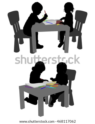 Kids Drawing Coloring Crayons Silhouettes Stock Vector (Royalty Free ...